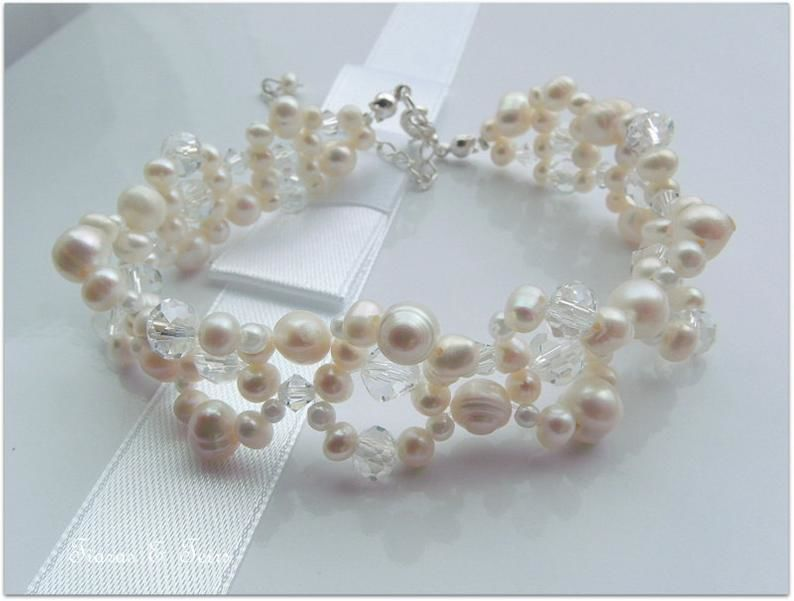 Fresh Water Ivory Pearl And Swarovski Crystal Wedding Bracelet