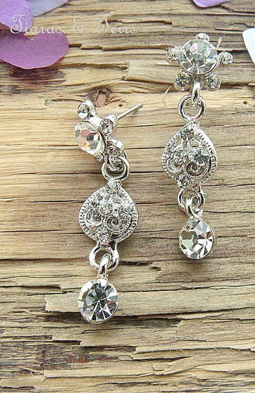 Vintage Fl Silver A Cubic Zirconia Wedding Earrings