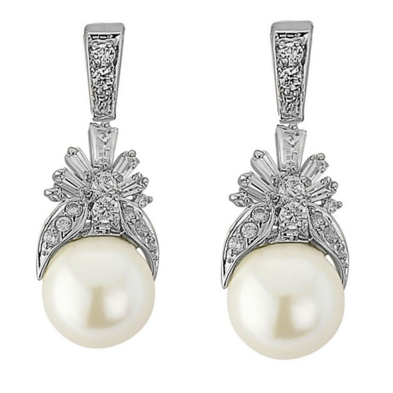 Regal Style Pearl And Cubic Zirconia Wedding Jewellery Set
