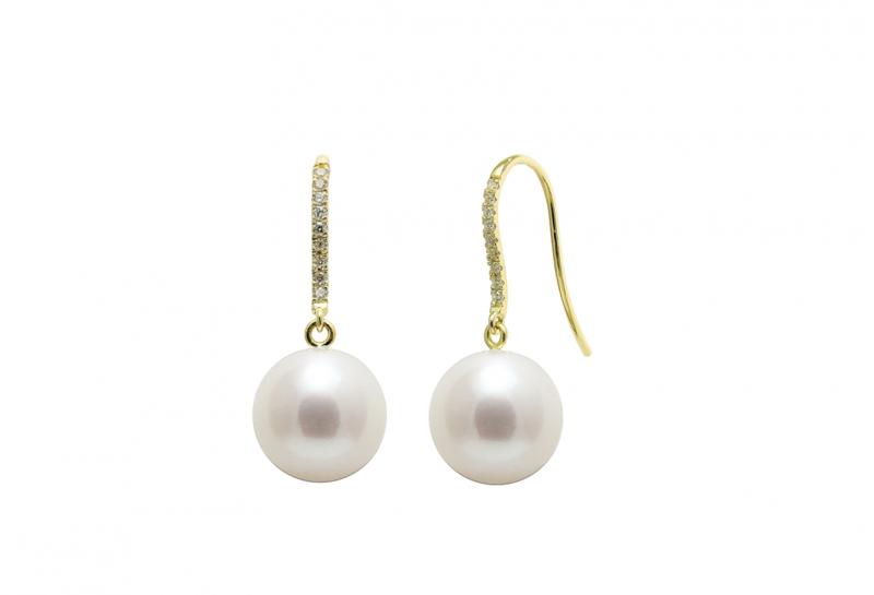 Diamond Set 18ct Gold Pearl Wedding Earrings
