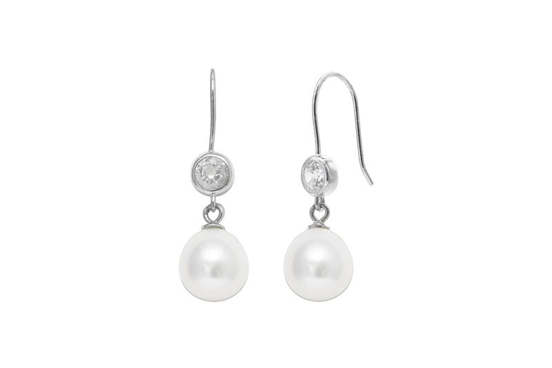 Cubic Zirconia Sterling Silver Pearl Wedding Earrings Tiarasandteirs