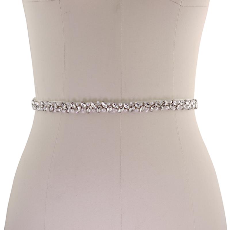 Wedding Dress Belts.Thin Crystal And Pearl Wedding Dress Belt