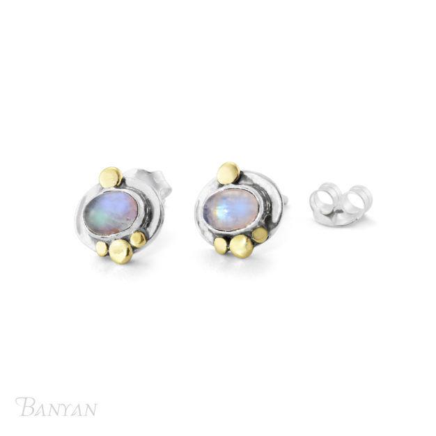 4e4466adb4e Moonstone gemstone sterling silver stud wedding earrings