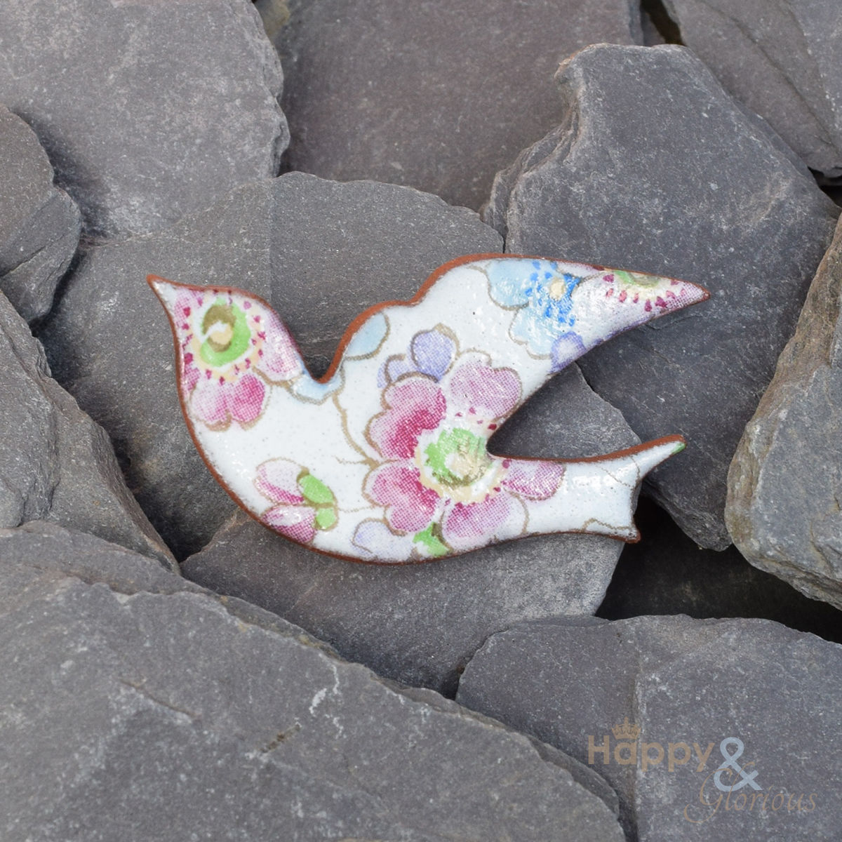 White Pink And Blue Floral Ceramic Bird Brooch By