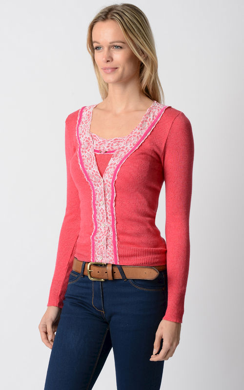 6988273d5fd Even More Colours In Our Fuchsia Velvet and Lace Twinset