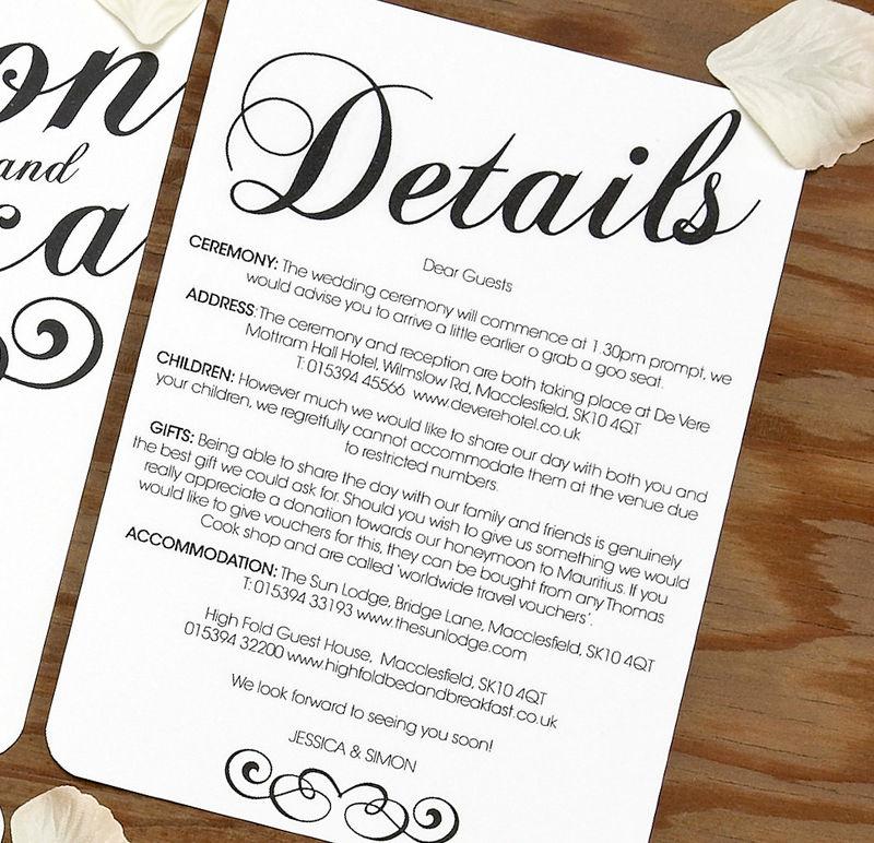 Wedding Invitations Details: Vintage Wedding INFORMATION CARD