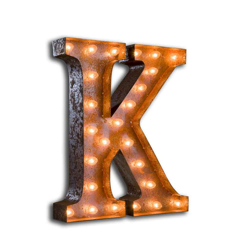 Industrial Style Light Up Letters: Letter Light K