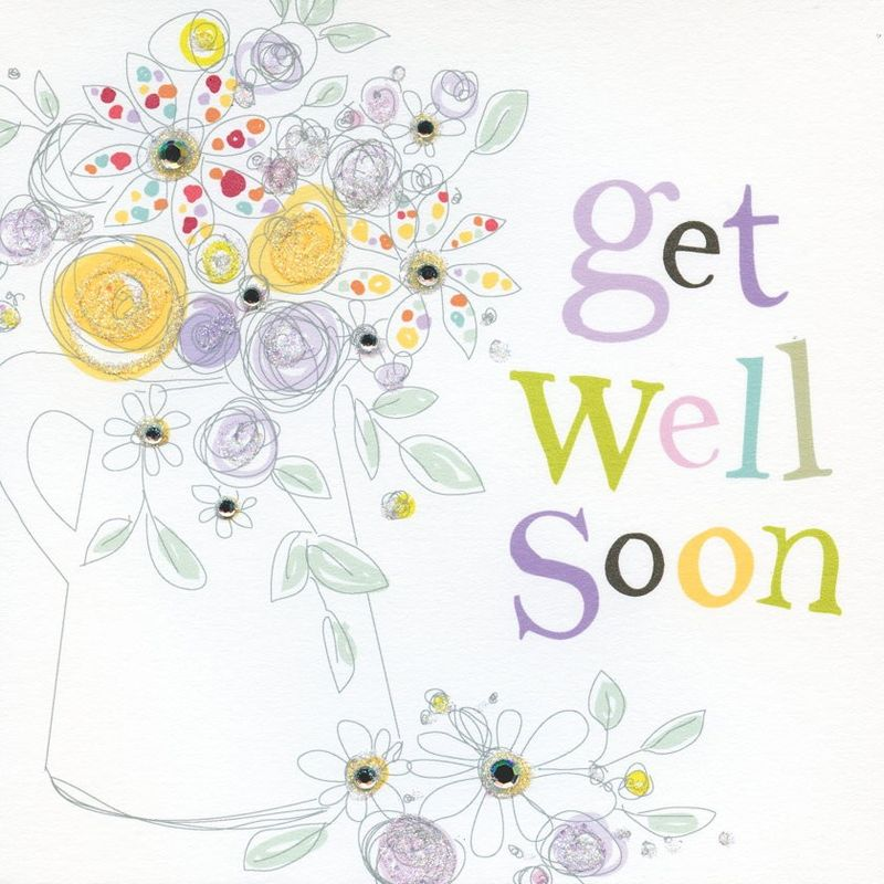Hand Finished Get Well Soon Card Karenza Paperie