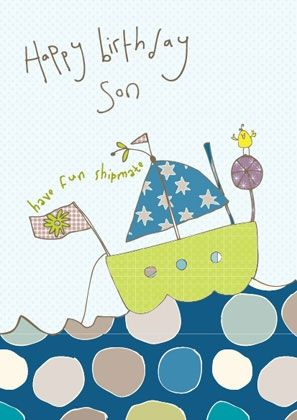 Son Boat Birthday Card