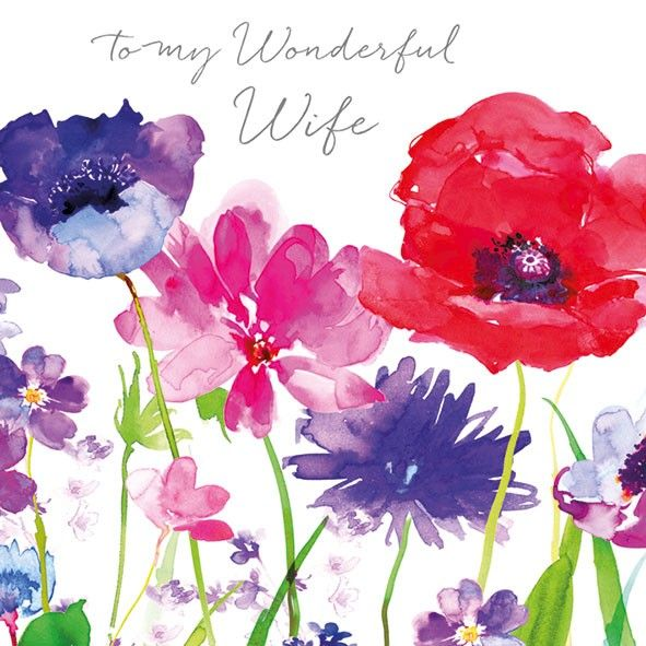 Floral Wonderful Wife Birthday Card