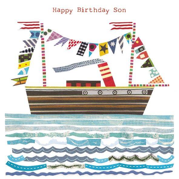 Son Birthday Boat Birthday Card