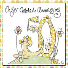 Hand Finished 50th Wedding Anniversary Card Karenza Paperie