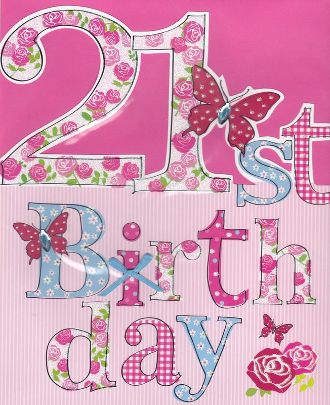 Hand Finished Floral 21st Birthday Card Large Luxury Birthday