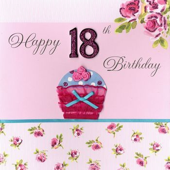 Hand Finished Cupcake 18th Birthday Card Large Luxury