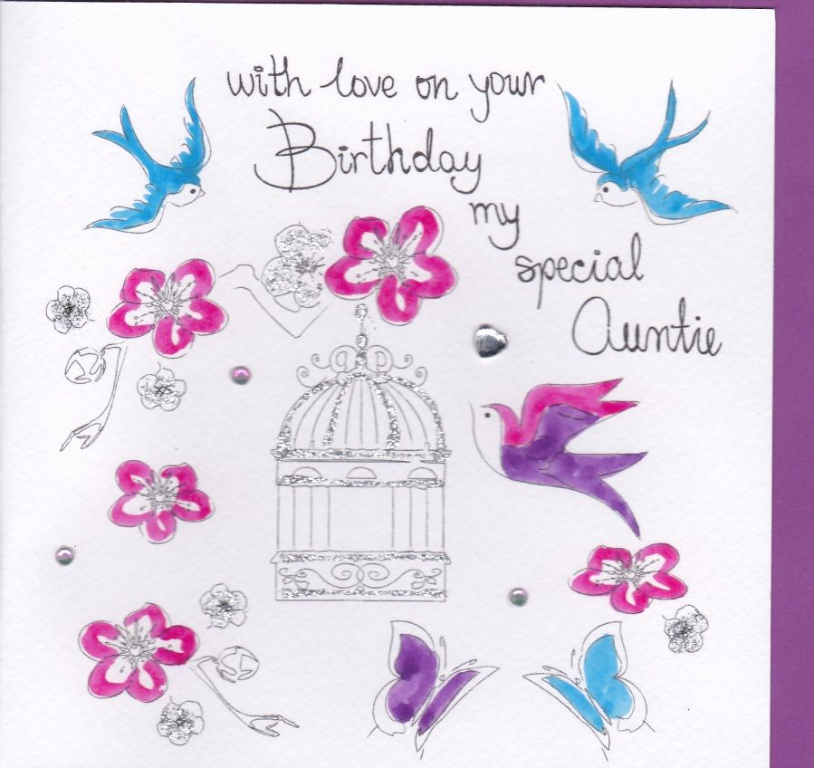 Hand Painted Special Auntie Birthday Card