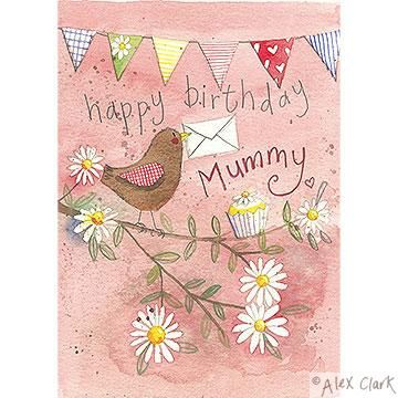 Mummy Bird And Bunting Birthday Card