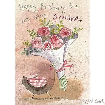 Grandma Bird And Flowers Birthday Card