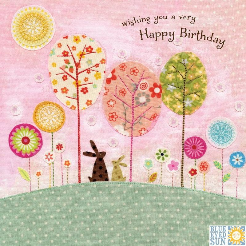 Bunny Rabbits Trees Birthday Card