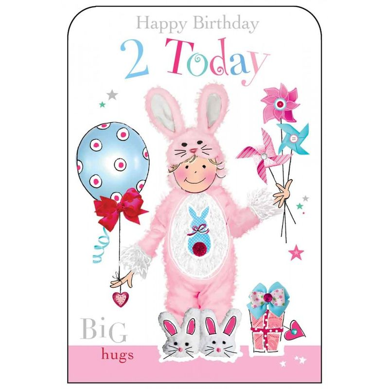 Happy Birthday 2 Today Girls Birthday Card