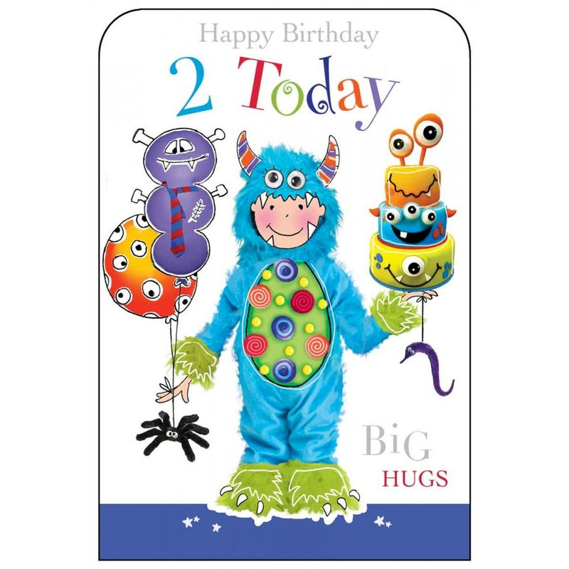Happy Birthday 2 Today Boys Birthday Card