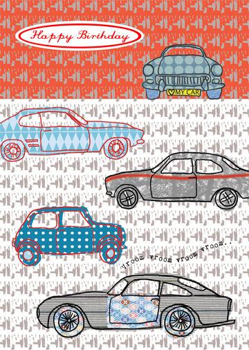 Vroom Cars Birthday Card