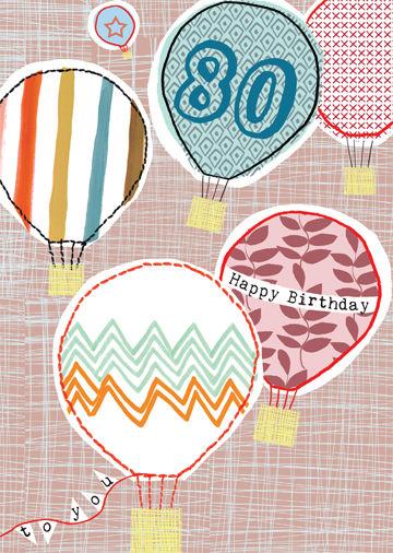 Happy 80th Hot Air Balloons Birthday Card