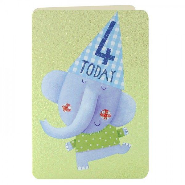 Age 4 Elephant Birthday Card