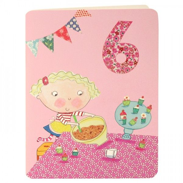 Girl Amp Cakes Age 6 Birthday Card Karenza Paperie