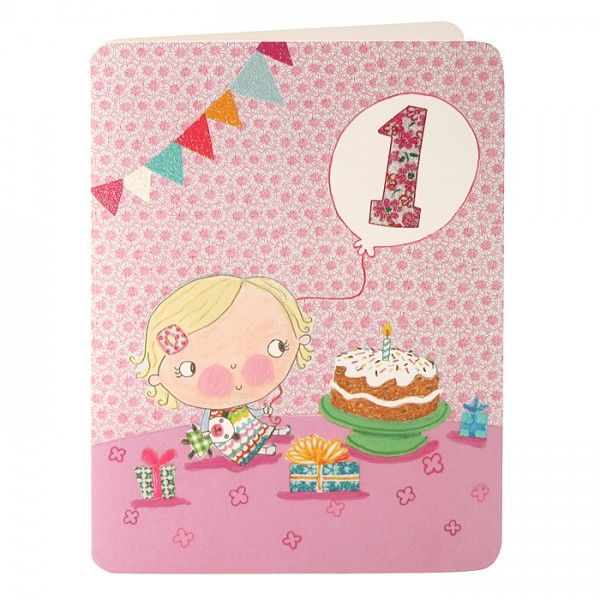 Images Of Vintage Girls First Birthday Card: Baby Girls First Birthday Card