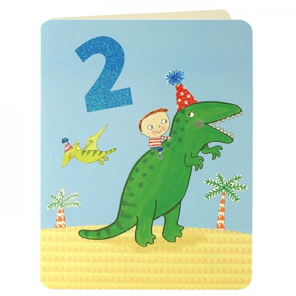 Boy & Dinosaur Age 2 Birthday Card