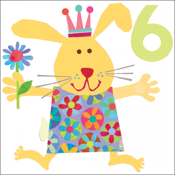 Bunny Rabbit 6th Birthday Card