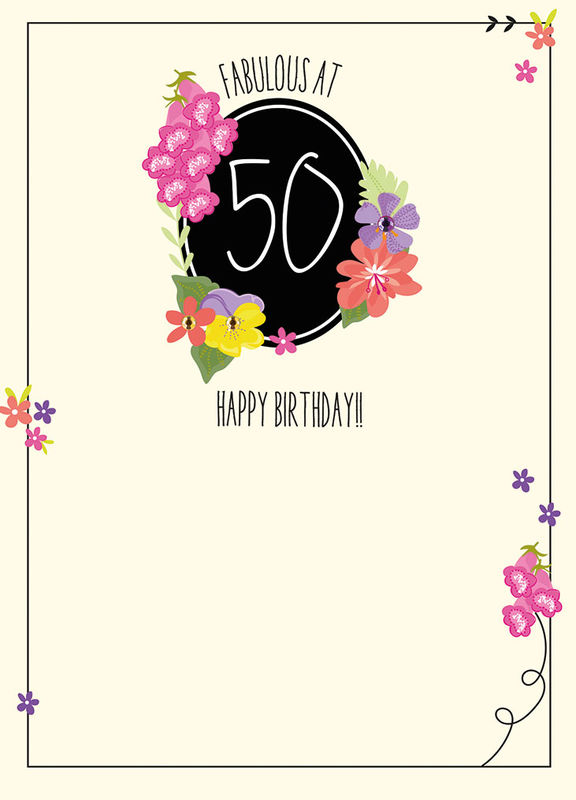 Fabulous At 50 Birthday Card