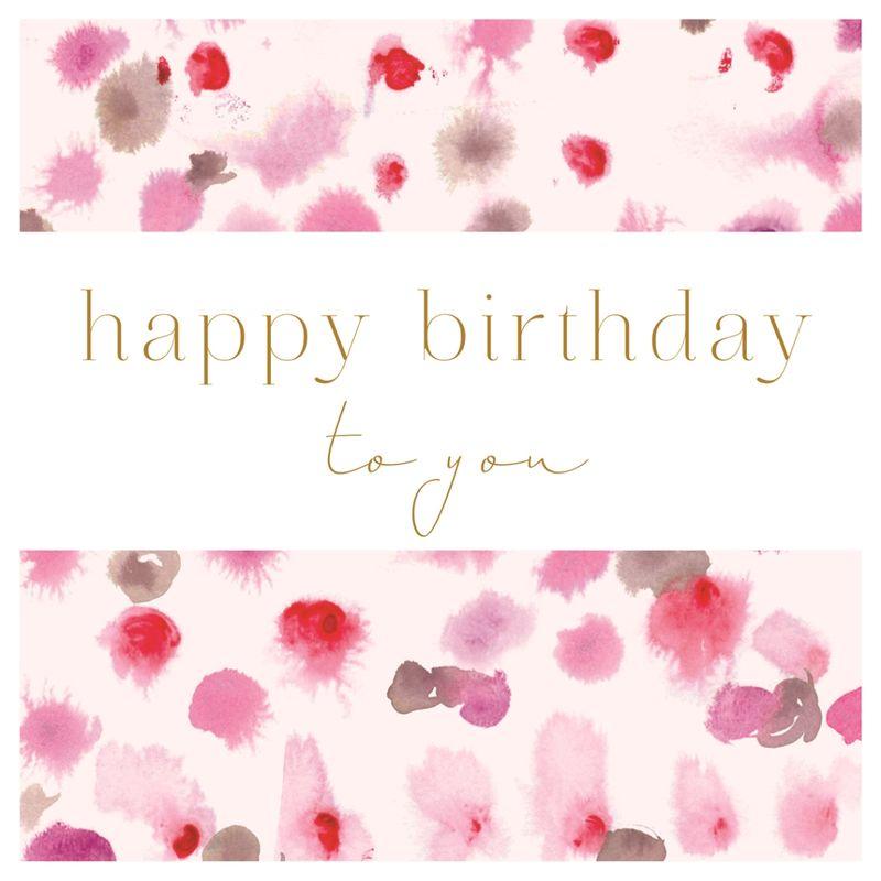 Pink Splodges Birthday Card