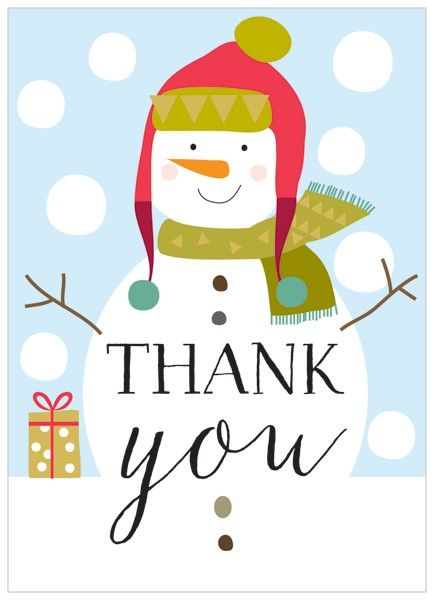 Christmas Thank You Cards.Pack Of 8 Snowman Christmas Thank You Cards