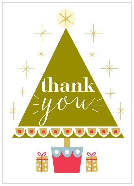 Christmas Thank You Cards.Pack Of 8 Christmas Tree Thank You Cards