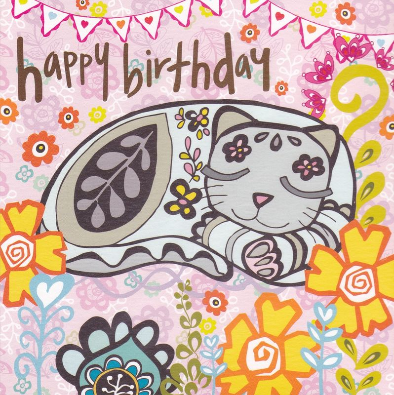 Cat Flowers Birthday Card