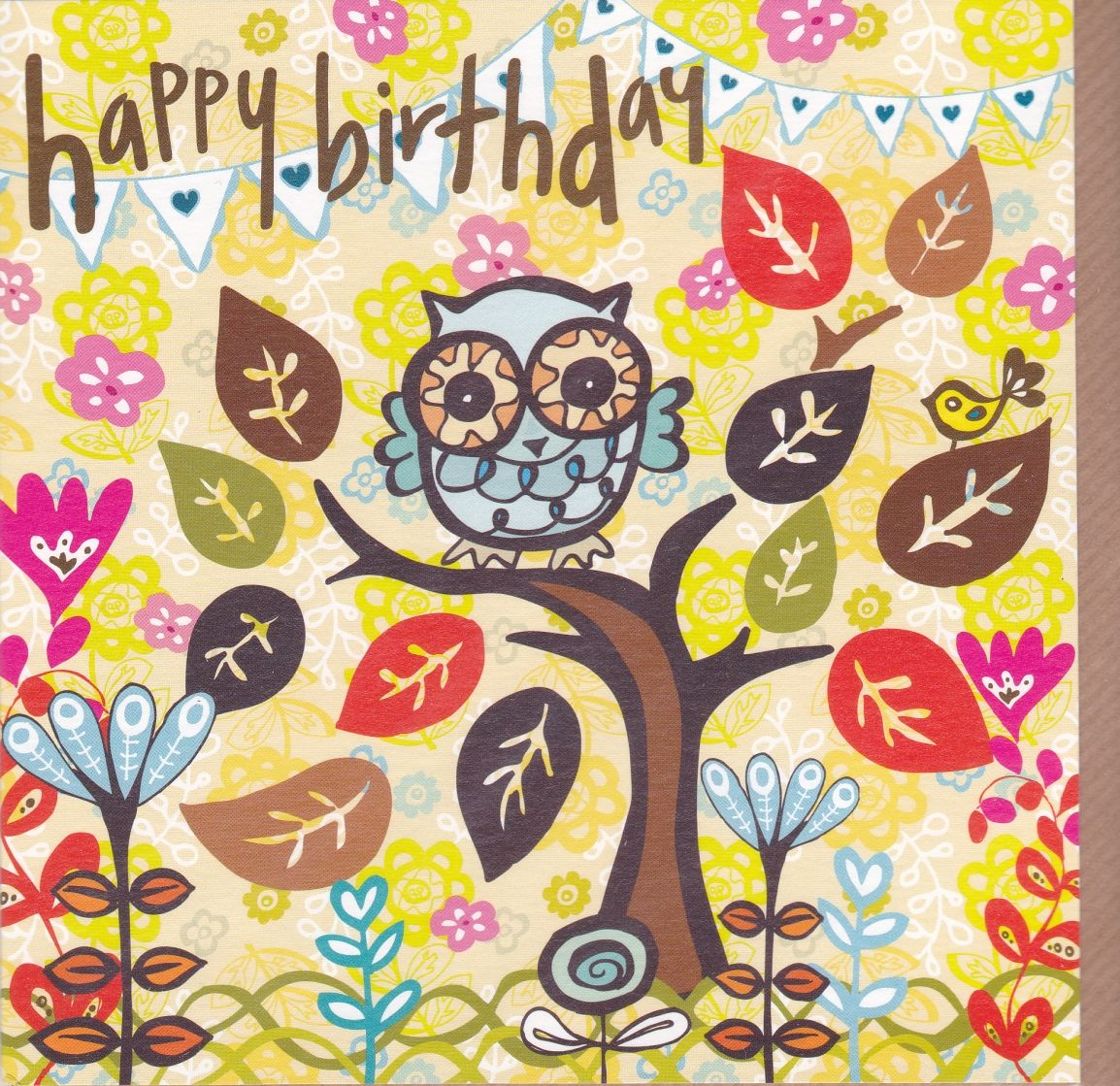 Owl & Tree Birthday Card