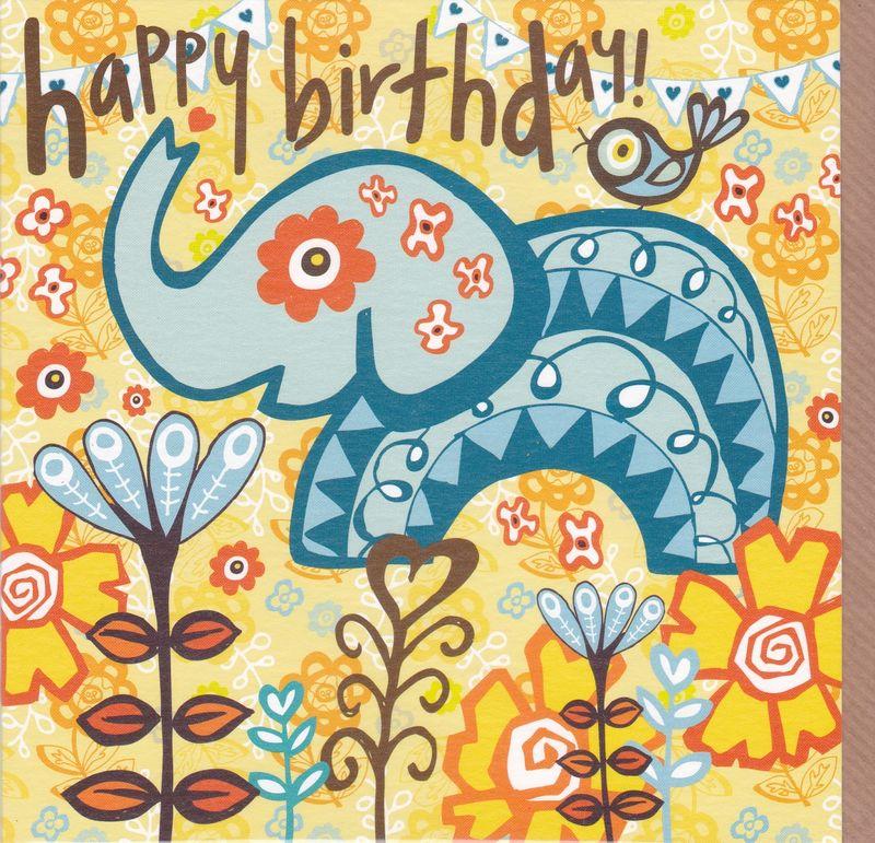 Elephant Bird Birthday Card