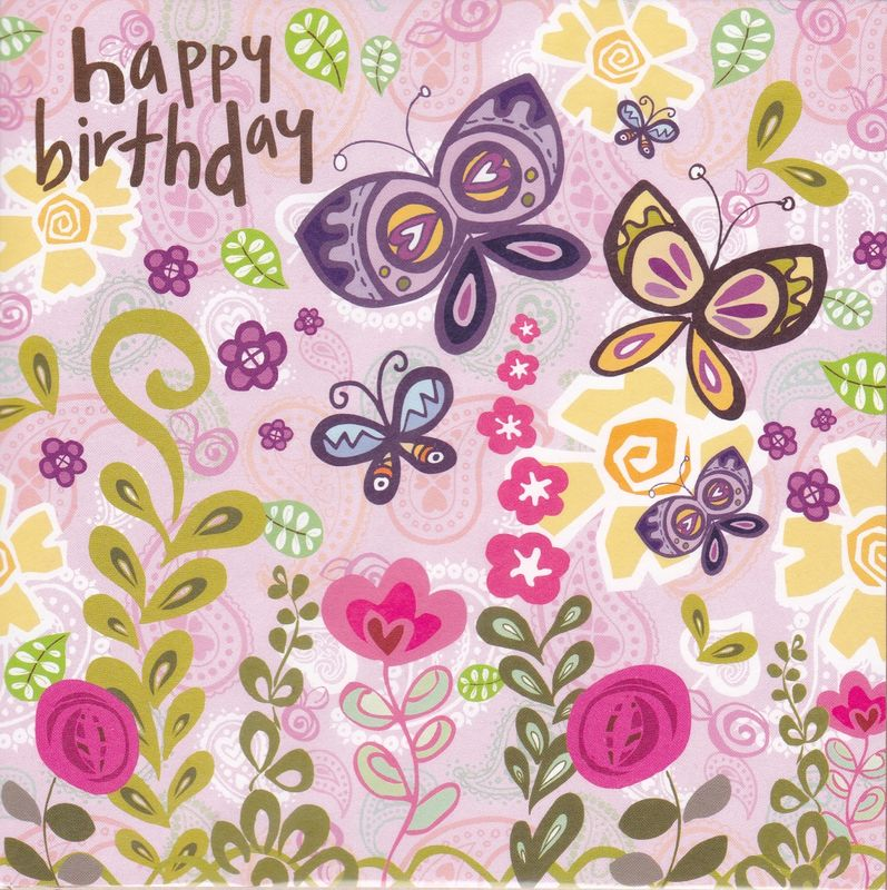 Butterflies Flowers Birthday Card