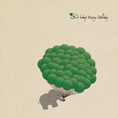 Elephant 50th Birthday Card