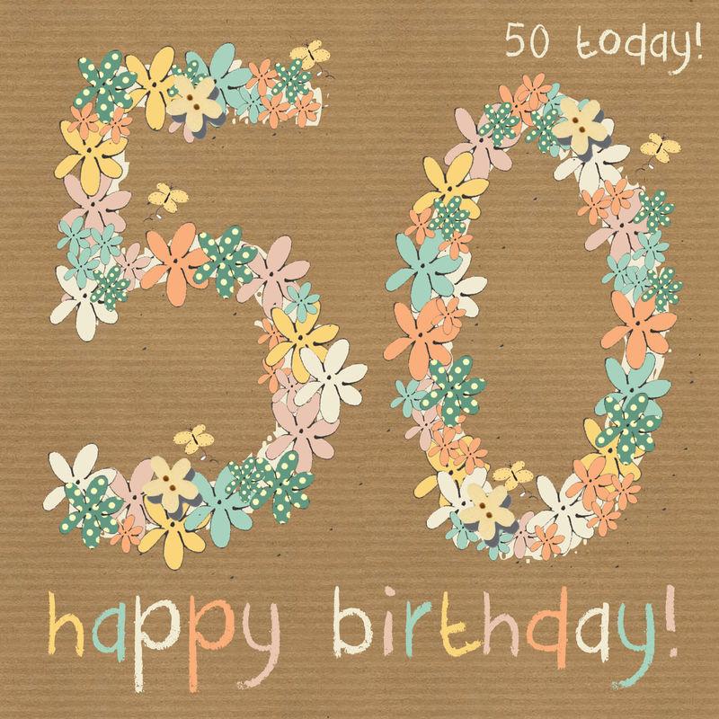 Floral 50th Happy Birthday Card