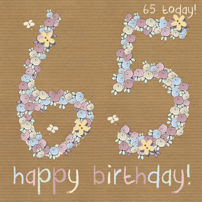 Floral 65th Happy Birthday Card
