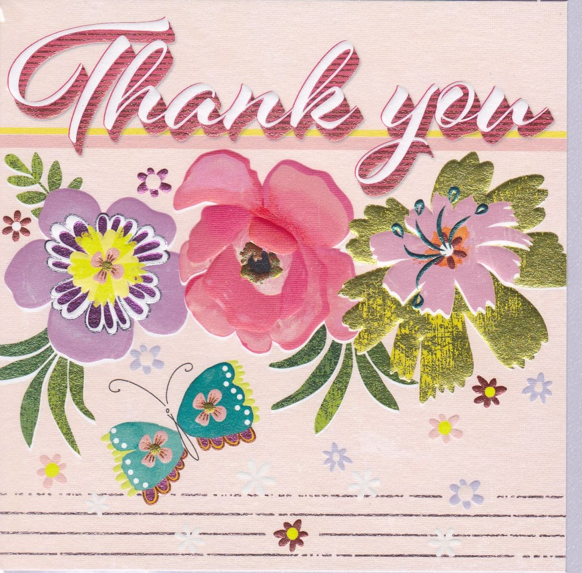 Flowers & Butterfly Retro Thank You Card