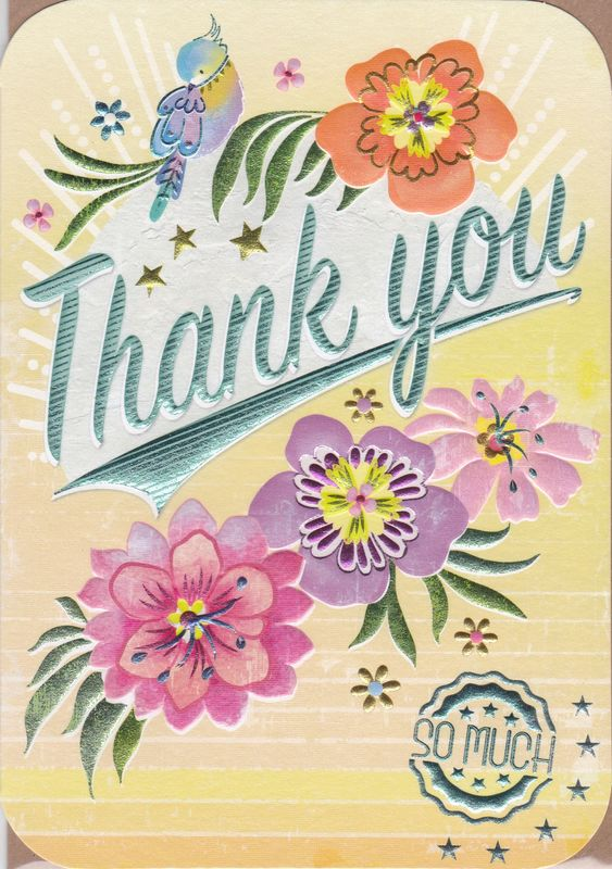 Bird Amp Flowers Thank You So Much Card Karenza Paperie