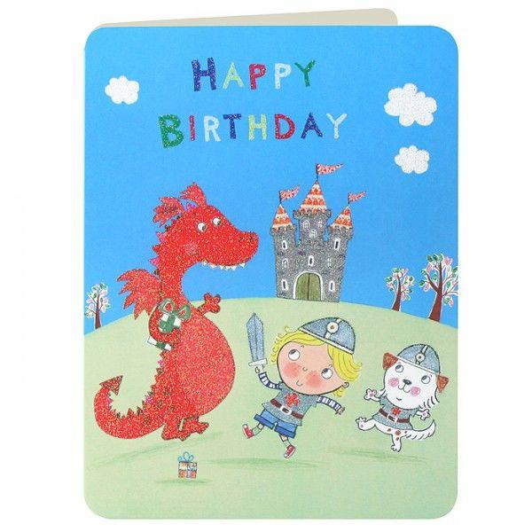 Knight Red Dragon Boys Birthday Card