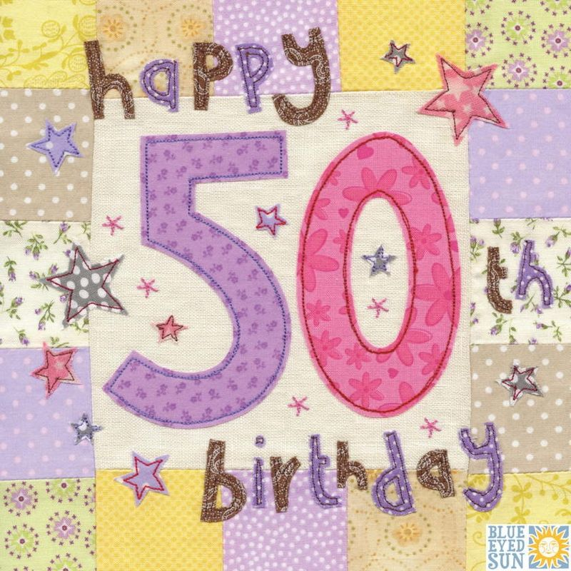 Happy 50th Birthday Card Large Luxury Karenza Paperie