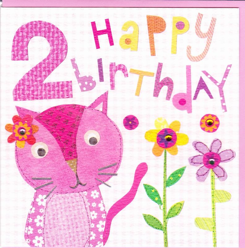 Pink Cat 2nd Birthday Card