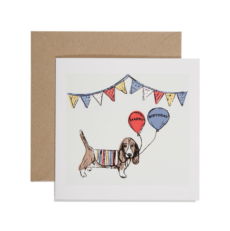 Hand Printed Dog And Balloons Birthday Card
