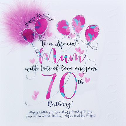 handmade mum 70th birthday card large luxury birthday card
