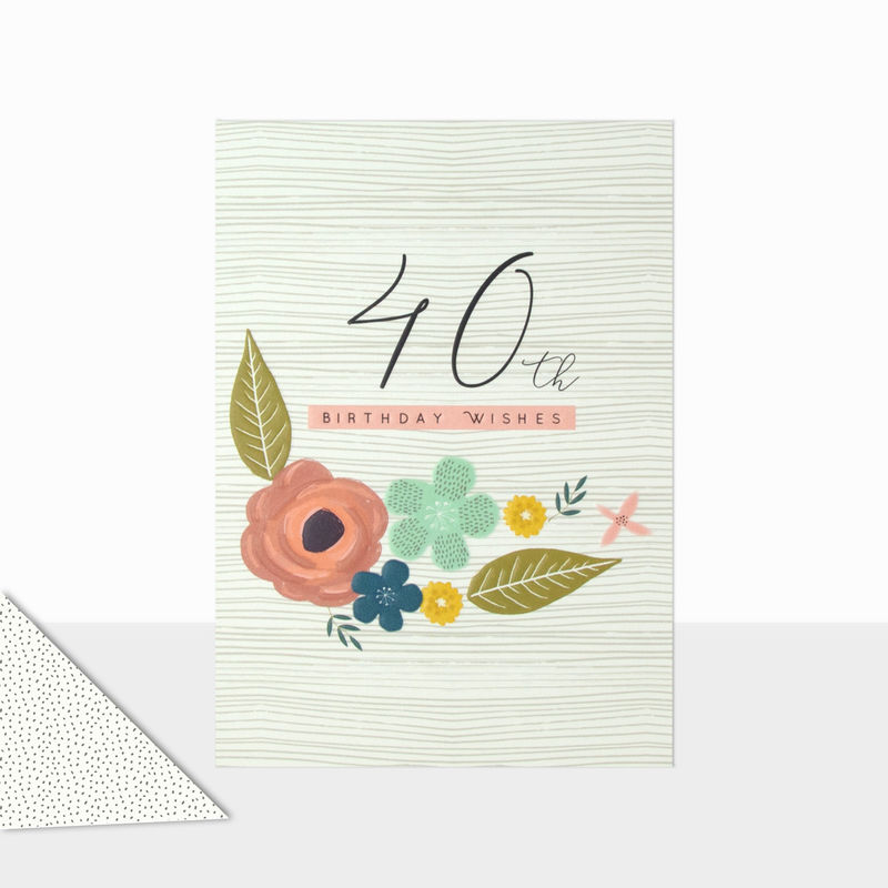 Floral 40th Birthday Wishes Card